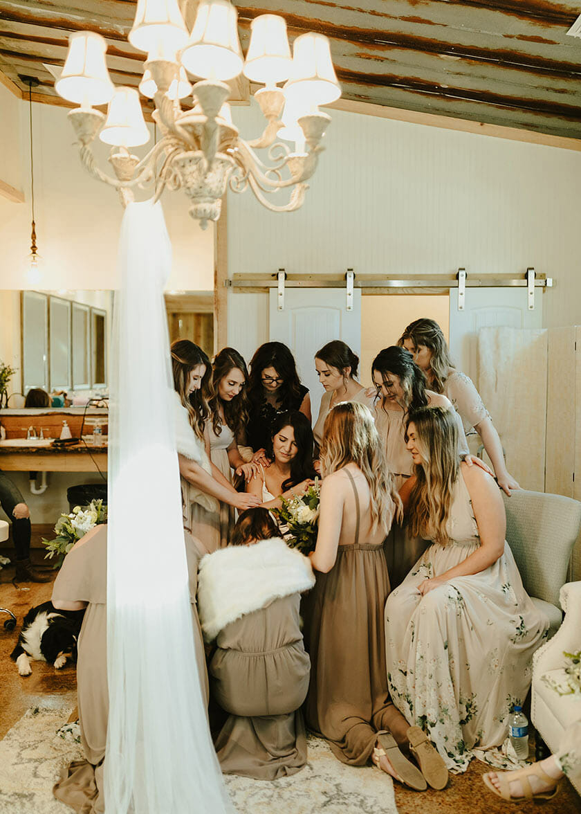 Brides Maids in dressing room